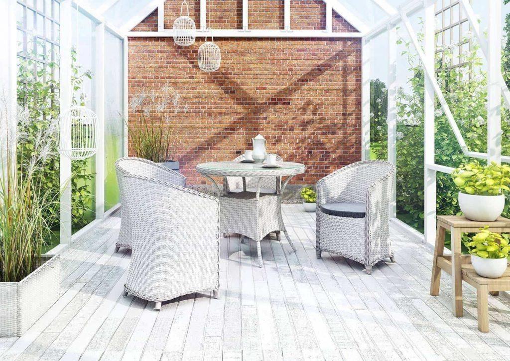 meble rattanowe, stół drewniany na ogród